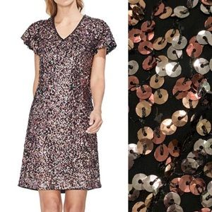 Vince Camuto Gilded Rose Sequin Dress 0 NWT
